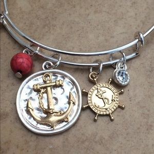 Two Tone Beach Anchor Charm Bangle Bracelet
